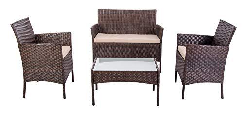 Verdelook - Juego de cama con sofá y 2 sillones y mesa, estructura marrón y cojín gris