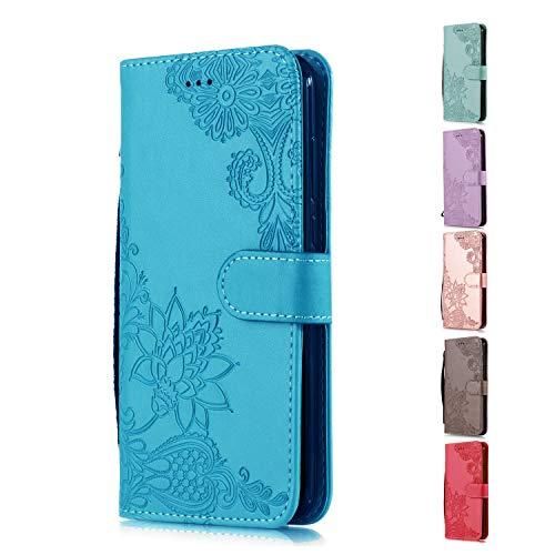 Funda Libro para Samsung Galaxy S6 Carcasa de Cuero PU Premium Encaje de Flores de Mandala Flip Wallet Case Cover con Tapa Teléfono Piel Tarjetero - Azul