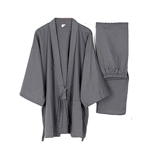Trajes de Estilo japonés de los Hombres Traje de Pijama de Kimono Fino Meditación Set-Grey-Size XL