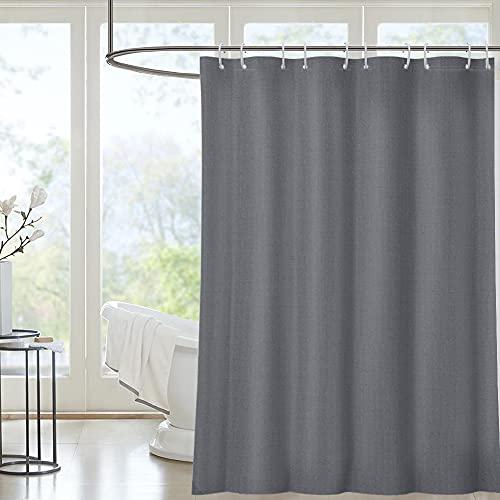 i@HOME Duschvorhang Anti-Schimmel Duschvorhäng Wasserabweisend Shower Curtains Waschbar Anti-Bakteriell Duschvorhänge aus Polyester Badvorhang mit 12 Duschvorhängeringen (Grau, 180 x 200 cm)