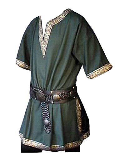 LiangZhu Herren Steampunk Kurze Ärmel Gothic Mittelalterliches Renaissance Jacke Cosplay Uniform Ohne Gürtel Grün XL