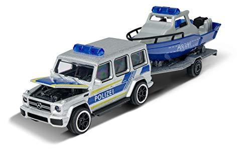 Majorette 212053154Q03 Mercedes G63 + Barco + Remolque, Coche de policía, Coche de Juguete con Rueda Libre, Coche de Metal, 13 cm, a Partir de 3 años, Plateado/Azul