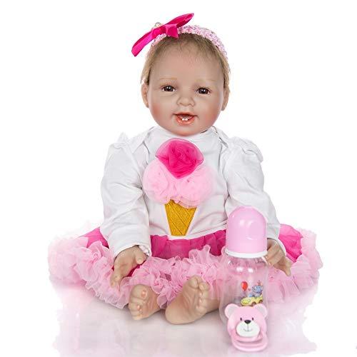 CutieDolls La Nueva Muñeca Reborn Realista Sonriente Suave Cuerpo Silicona Juguete Renacer (55CM - 22 Pulgadas) con Vestido y Accesorio. El Mejor Regalo y compañera de Juego.