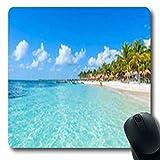 Luancrop Alfombrillas Paradise Riviera Maya Playas Exóticas Cancún Quintana Naturaleza Deportes Recreación Palm Oblong Gaming Mouse Pad Alfombrilla de Goma Antideslizante