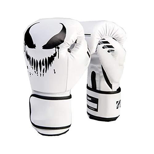 KDOAE Boxhandschuhe Monster Muster Boxhandschuhe MMA Boxsack Trainings Mitts 4 Farben Junioren Erwachsene (Color : White, Größe : 10oz)