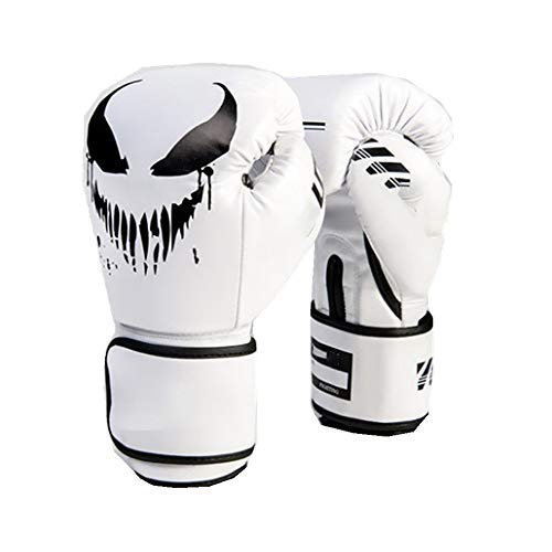 ROGF Boxhandschuhe Boxen MMA Boxsack Trainings Mitts 4 Farben Optional Monster Muster Boxhandschuhe für Boxen (Color : White, Size : 10oz)