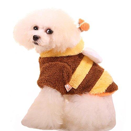 WORDERFUL Pet Winter Coat Bee Costume Dog Warm...