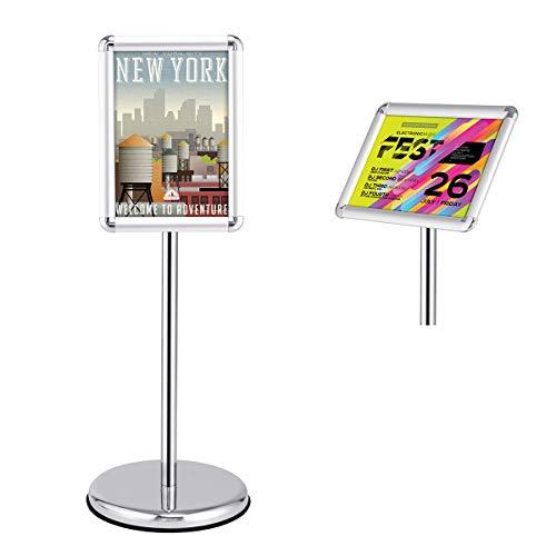GOPLUS Stand Espositore da Pavimento Pavement sign Supporto Menù Poster Porta poster Pubblicità Girevole altezza Regolabile Metallo 83-134cm+ (A4)