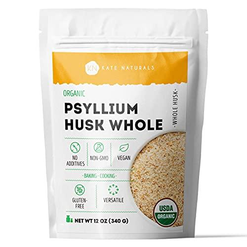 Organic Whole Psyllium Husk (12oz) by Kate Naturals. Delicious Whole Psyllium Husk in Resealable Bag for Added Fiber. Gluten-Free & Vegan. Ideal for Baking, Cooking & Mixology.