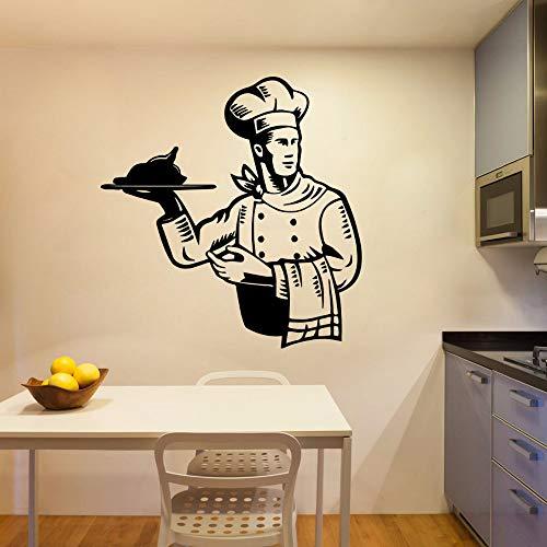 Diy Chef cocina papel tapiz papel tapiz pegatinas de pared para decoración de habitación pegatinas de vinilo pegatinas de cocina Mural pegatinas de pared A6 57x59cm