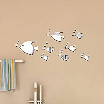 YWLINK Bubble Fish BañO AcríLico Espejo Decorativo Etiqueta Arte De La Pared Espejo: Amazon.es: Hogar