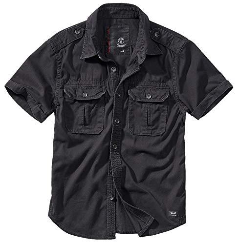 Brandit Vintage Chemise à Manches Longues Et à Manches Courtes, Tailles S À 7XL - Noir à Manches Courtes, XXL