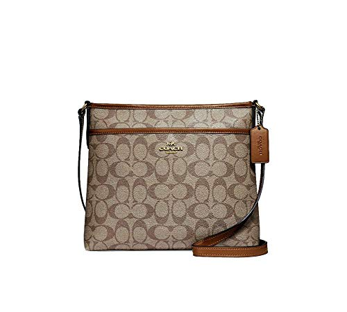 """Signature coated canvas with smooth leather details. Zip-top closure, fabric lining; Outside slip pocket. Adjustable strap with 21 3/4"""" drop for shoulder or cross-body wear. Measurements: 10 1/4"""" (L) x 8 3/4"""" (H) x 2"""" (W)."""