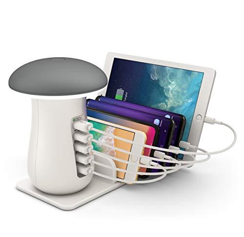 ONLT Lámpara Escritorio LED,Lámpara de Mesa USB regulable Recargable,Control táctil,Estación de Carga USB,Base de Carga 5 Puertos Cargador Smartphone Tablets