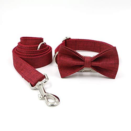 YIBAO Conjunto De Collar Y Correa para Perro con Pajaritas, Material De Lino Ajustable, Collar para Perros Pequeños/Medianos/Grandes. XS
