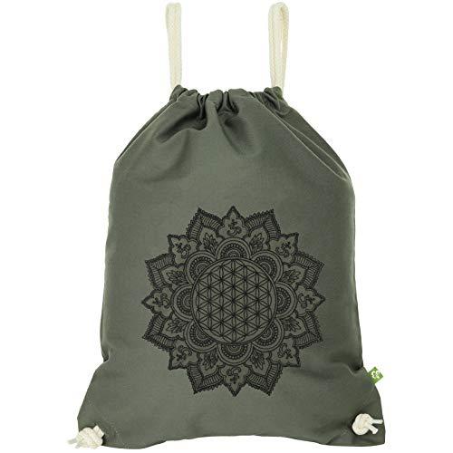 Bolsa de deporte impermeable verde con mandala, flor de la vida, bolsa de gimnasio, bolso hipster, mochila bohemia, bolsa de deporte, moderna bolsa de playa feng Shui