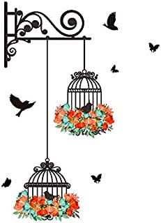 Zegeey Wall Decal With Leaves Birds Birdcage Diy Decorative Painting Bedroom Living Room Tv Wall Stickers Mural One Size M...