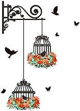ملصقات جدارية Zegeey مع أوراق الطيور قفص الطيور اصنعها بنفسك ديكور غرفة النوم غرفة المعيشة التلفزيون ملصقات جدارية حجم واح...