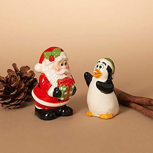 GIL S/2 Dolomit-Pinguin und Weihnachtsmann, 15 x 7,5 x 12,7 cm, Mehrfarbig