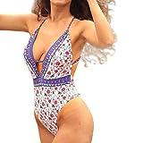 Rawdah Costume da Bagno Donna Intero Sexy Bikini Brasiliana Vita Alta Un Pezzo Indonesia Stampare Costumi da Bagno Imbottito Tuta bagnarsi Push-Up tezenis Bathing Swimwear Jumpsuit (Multicolore, L)