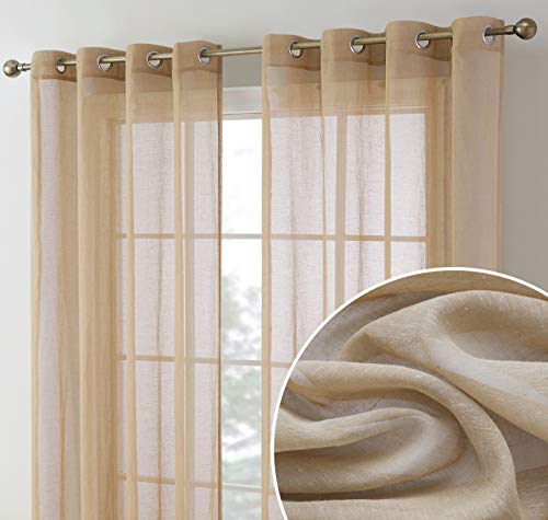 HLC.ME Sierra Burlap Flax Linen Semi Sheer Privacy Sun Light Filtering Transparent Window Grommet Short Thick Curtains Drapery Panels for Kitchen & Bathroom, 2 Panels (54 W x 63 L, Taupe)