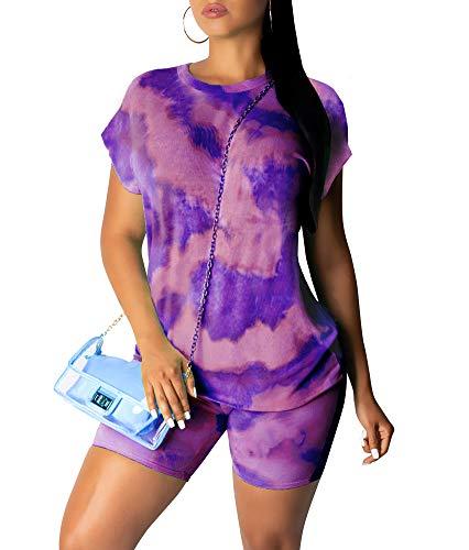 Women 2 Piece Outfits Short Sleeve Tie Dye T-Shirt Top and Shorts Set Purple M