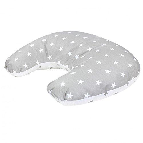 TupTam Baby Stillkissen Klein mit Baumwoll-Bezug, Farbe: Sternbild Grau/Weiß