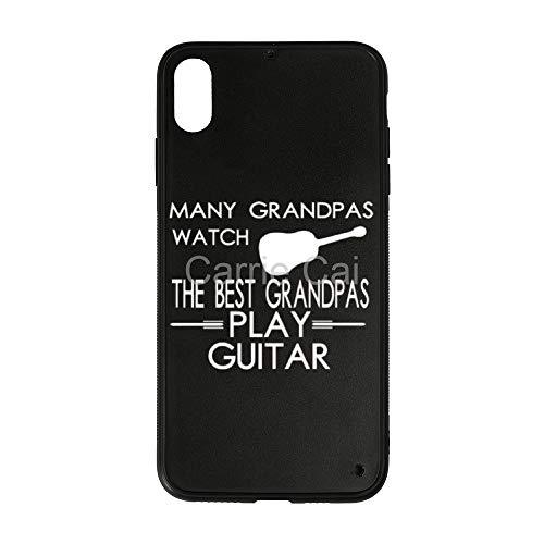 Many Grandpas Watch TV Best Grandpas Play Guitar iPhone Case XS MAX Shatter-Resistant Anti-Fingerprint Scratch-Proof Mobile Phone Case TPU Phone Case + Tempered Glass Case