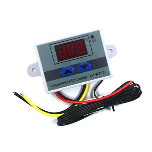 Controlador de temperatura digital LED XH-W3001 con sonda impermeable NTC10K de 1 m para calentamiento y enfriamiento del congelador de fermentación (12V/120W)