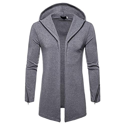 Mens Hoodie Winter Autumn Long Hoodie Jacket Lightweight Breathable Sweatshirts Jacket Tops Casual Long Sleeves Classic Mid-Length Open Front Outwear L