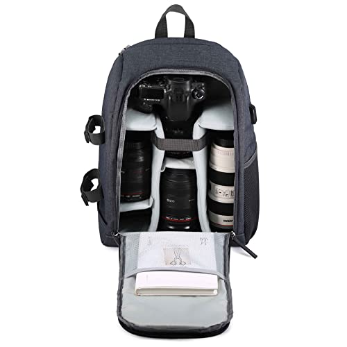 Selighting Mochila Fotográfica Multifunción y Impermeable para Cámaras Réflex Digital SLR Lentes Trípode Flash Laptop Portátil Canon Nikon Sony Drone y Accesorios (Gris-2)