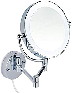 Daily Necessities LED Lights Wall-Mounted Micro-Dimming Round Portable Double-Side Mirror Beauty Vanity Folding Mirror High-Definition Makeup Desktop Dressing Mirror (Color : 7 Times)