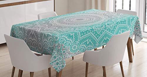LIS HOME Mantel Gris y Turquesa, Esencia primitiva y armonia del Universo Mandala Ombre Art, Cubierta de Mesa Rectangular para la decoracion de la Cocina del Comedor, Azul Amarillo