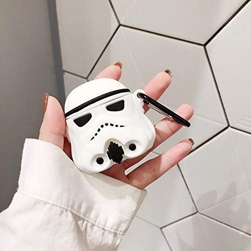 AirPods Case Soft Silicone Shockproof Cover for Apple Airpods 2 & 1, Star Wars Imperial Stormtrooper Army Spacetrooper 3D Unique Design Skin Kits with Carabiner Holder for Air Pods (Stormtrooper)