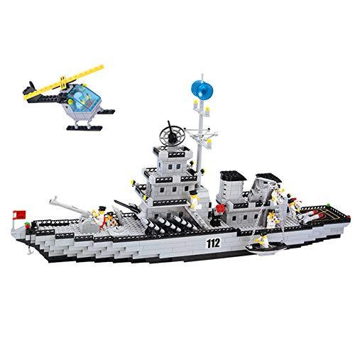 Bloques de construcción Modelo DIY ejército Militar Batalla Crucero Barco Conjunto de helicópteros educativos para niños Bloques de construcción de Juguete de ladrillo Regalos