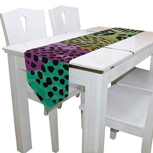N/A Eettafel Runner Of Dresser Sjaal, Abstract Dier Luipaard Zebra Print Deck Tafelkleed Runner Koffie Mat voor Bruiloft Partij Banket Decoratie 13x90IN