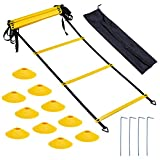 Bligo Speed Agility Training Equipment Set - Includes 23 ft Ladder with 4 Hooks, 10 Cones - Kit for Athletes, Football, Soccer, Basketball, Hockey, for Coordination, Footwork