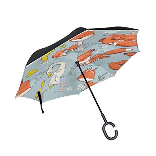 XiangHeFu Double Layer Inverted Reverse Umbrellas Farm Cute Fox and Birds Mouse Folding Windproof UV Protection Big Straight for Car with C-Shaped Handle