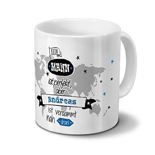 printplanet Tasse mit Namen Andreas - Motiv Nicht Perfekt, Aber. - Namenstasse, Kaffeebecher, Mug, Becher, Kaffeetasse - Farbe Weiß