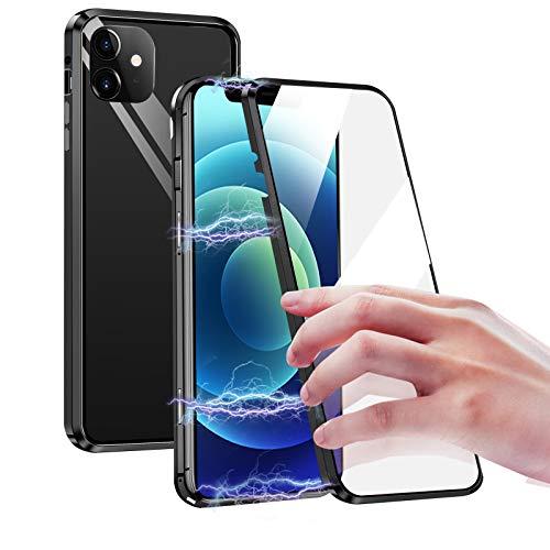 Custodia Magnetica per iPhone 12 Mini, 360 Gradi Adsorbimento Magnetica 12 Mini Cover Anteriore e Posteriore Vetro Temperato Caso, Full Protezione Custodia Protettiva per iPhone 12 Mini 5.4'' -Nero