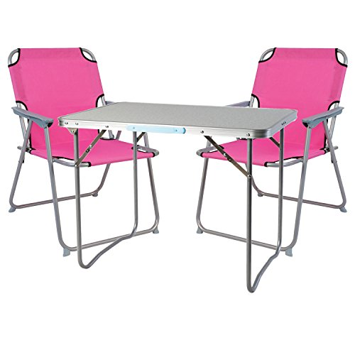 Mojawo Ensemble de Meubles de Camping en Aluminium Camping L70 x B50 x H59 cm 1 x Table de Camping avec poignée + 2 chaises Rose Tissu Oxford