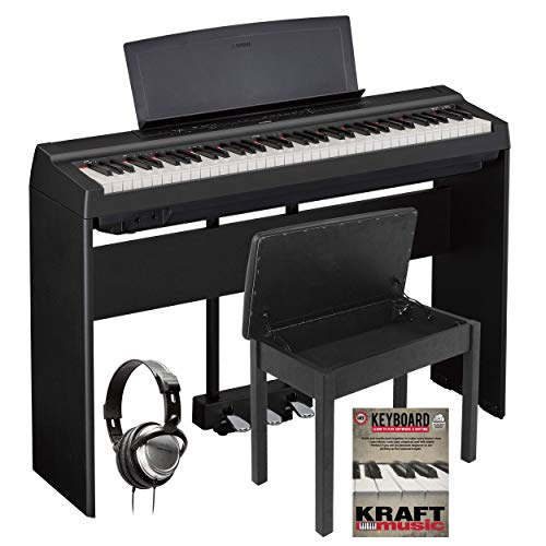 Best Prices! Yamaha P121 Black Digital Piano with L-121 Stand, LP-1 Pedal, Headphones, and Lesson Bo...