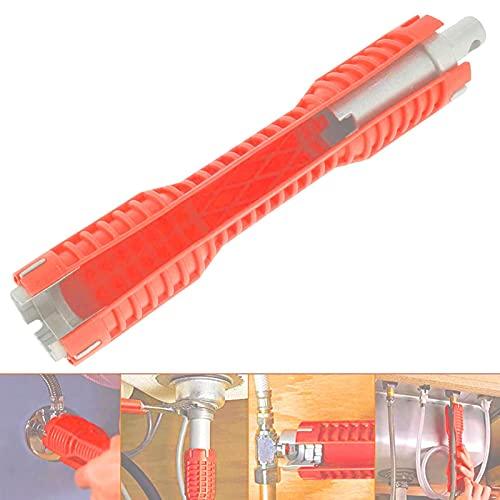 Jershal Instalador de grifos y fregaderos - Llave Multifuncional de Doble Cabezal para Fregadero en ABS y aleación de Aluminio para reparación de grifos de tuberías de Agua de baños