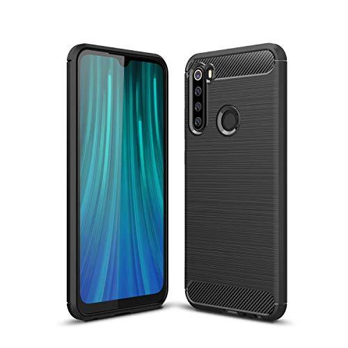 Kit Danet Capa Capinha Anti Impacto Para Xiaomi Redmi Note 8 Tela 6.3Case Com Desenho Fibra De Carbono E Película De Vidro Temperado (Preto)