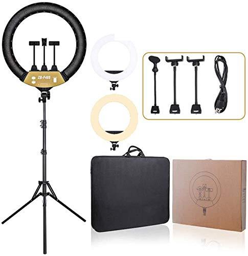 Hailiang 24-Zoll-Selfie-Ringlichter mit Stativständer Telefonhalter Dimmbar 3 Lichtmodi und 10 Helligkeitsstufen für Live-Streaming YouTube Instagram-Videofotografie
