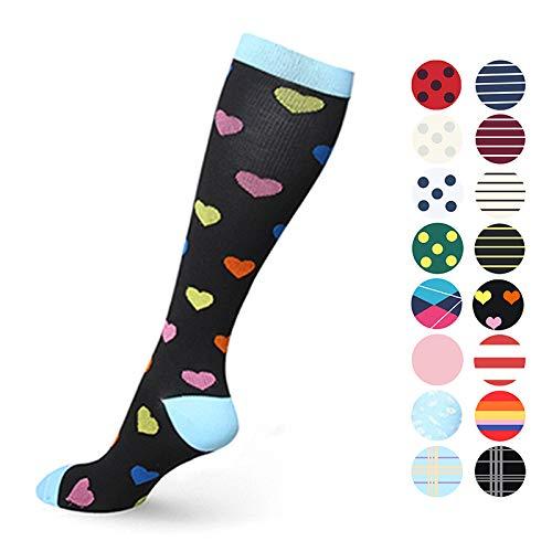 Crazyfly Compression Socks for Women & Men Circulation-Compression Socks 20-30 mmHg for Running Sport Nurse Travel Edema