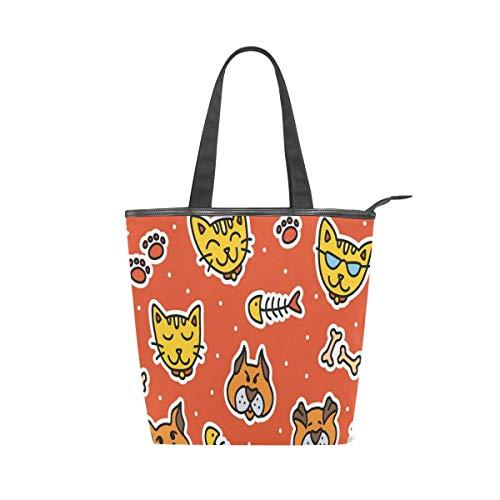 Einkaufstasche mit Katzen- und Hunde-Aufkleber, groß, Leinen, für Arbeit, Reisen, Handtasche, wiederverwendbar, für Damen und Mädchen (28 x 10 x 34 cm)