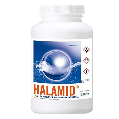Halamid / Chloramin-T, das Original von Axcentive - Professionelles Desinfektionsmittel gegen Keime, Bakterien, Pilze und einzellige Ektoparasiten im Koiteich und in der professionellen Aquakultur, 1kg Eimer Halamid
