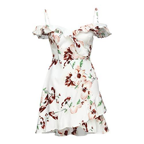UINGKID Sommerkleid Damen Kleid Tshirt Retro Elegant Kurzarm Minikleid Kleider Women Ladies Camisole Cascading Ruffle Off Shoulder V-Neck Print Mini Dress
