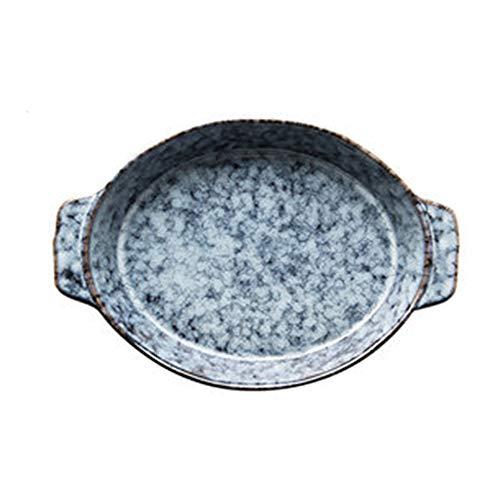 GAONAN Cerámica de cerámica redonda con asas, plato para hornear, plato de cazuela, sartenes para hornear, cacerola de lasaña para cocinar, cocina, cena de pastel, banquete y uso diario Cacerolas